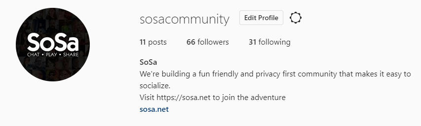 follow us on instagram @sosacommunity
