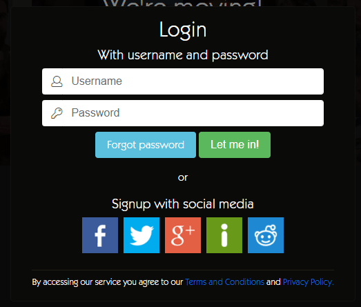 This is what a login screen looks like